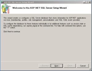 Welcome to ASP.NET SQL Server Setup Wizard