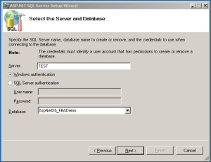 Select the Server and Database